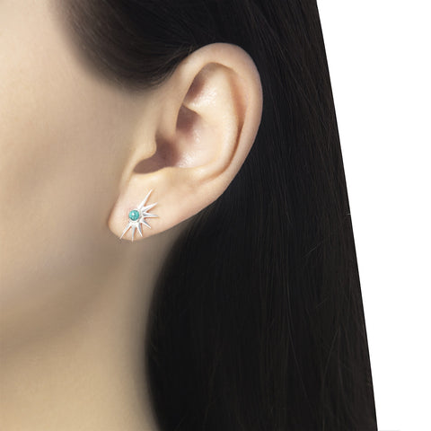 Estrella Silver Half Star Stud Earrings with Turquoise