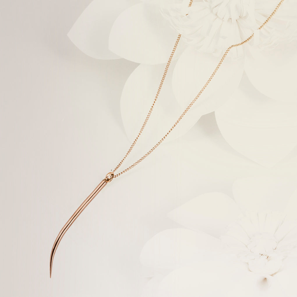Lanza Quill Rose Gold Pendant Necklace