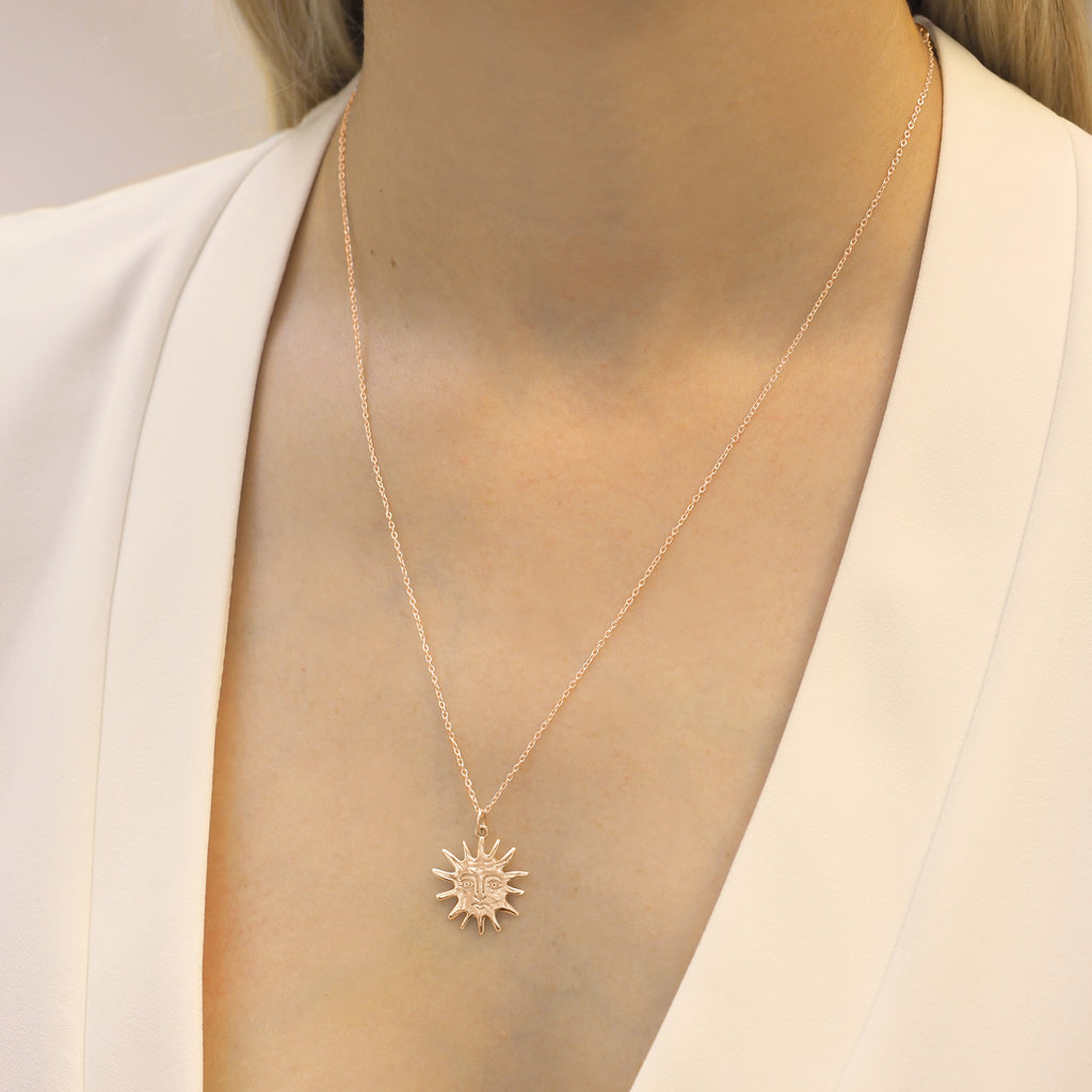 Solas Molten Rose Gold Sun Necklace