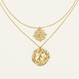 Athena Rose Gold Coin Relic Double Chain Necklace