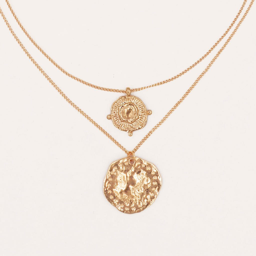 Athena Gold Coin Relic Double Chain Necklace