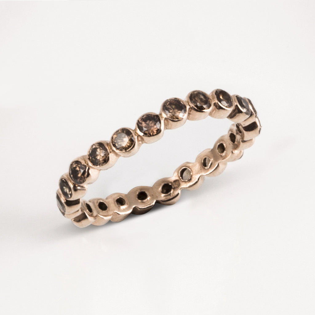 Oscura Smokey Quartz & Rose Gold Stacking Eternity Ring