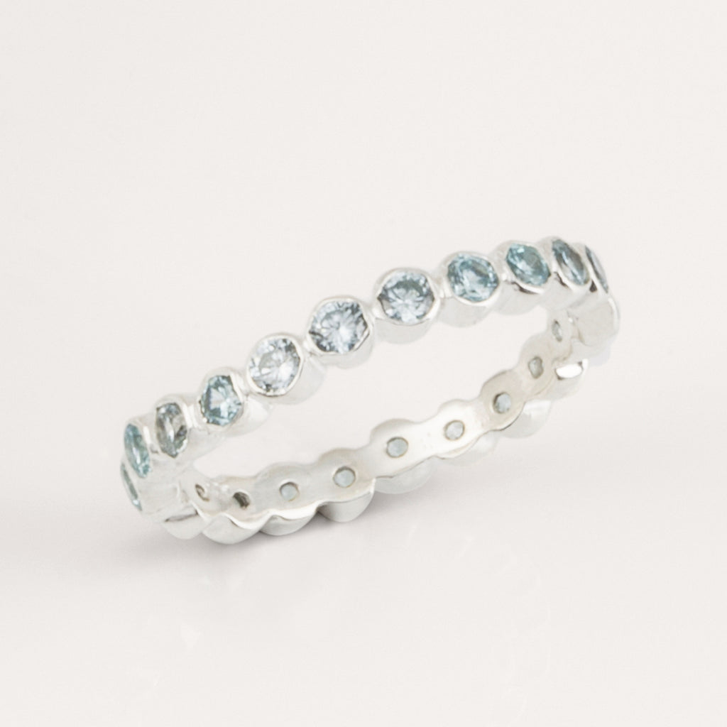 Oscura Blue Topaz & Silver Stacking Eternity Ring