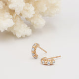 Shanti Rose Gold & White Topaz Small Huggie Hoops