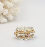 Aurelia Silver, Gold & Rose Quartz Spinning Ring