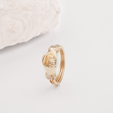 Fede Rose Gold, Rose Quartz and Pearl Gimmel, Claddagh Ring