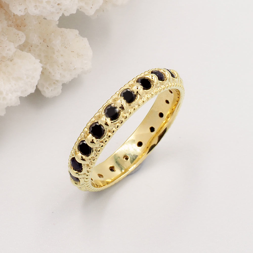 Elia Black Onyx & Gold Stacking Eternity Ring Band
