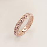 Elia Dusky Rose Pink Morganite & Rose Gold Stacking Eternity Wedding Ring Band