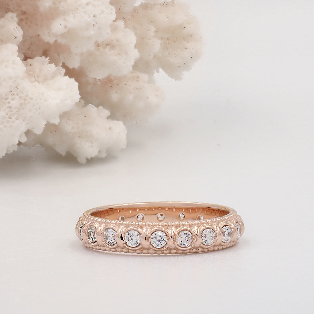 Elia White Topaz & Rose Gold Stacking Eternity Wedding Ring Band