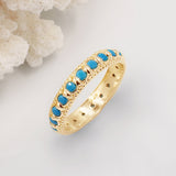 Elia Turquoise & Gold Stacking Eternity Ring Band