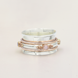 Aurora Silver, Rose Gold & Rose Quartz Spinning Ring