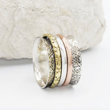 Galileo Mixed Metal Sterling Silver Engraved Spinning Ring