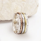 Galilei Three Band Mixed Metal & Sterling Silver Spinning Ring