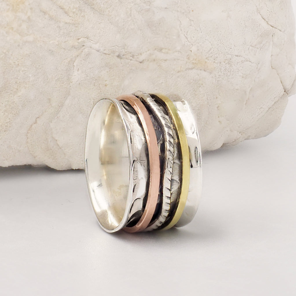 Anthe Wave Band Mixed Metal & Sterling Silver Spinning Ring