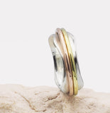 Sofia High Shine Mixed Metal & Sterling Silver Spinning Ring