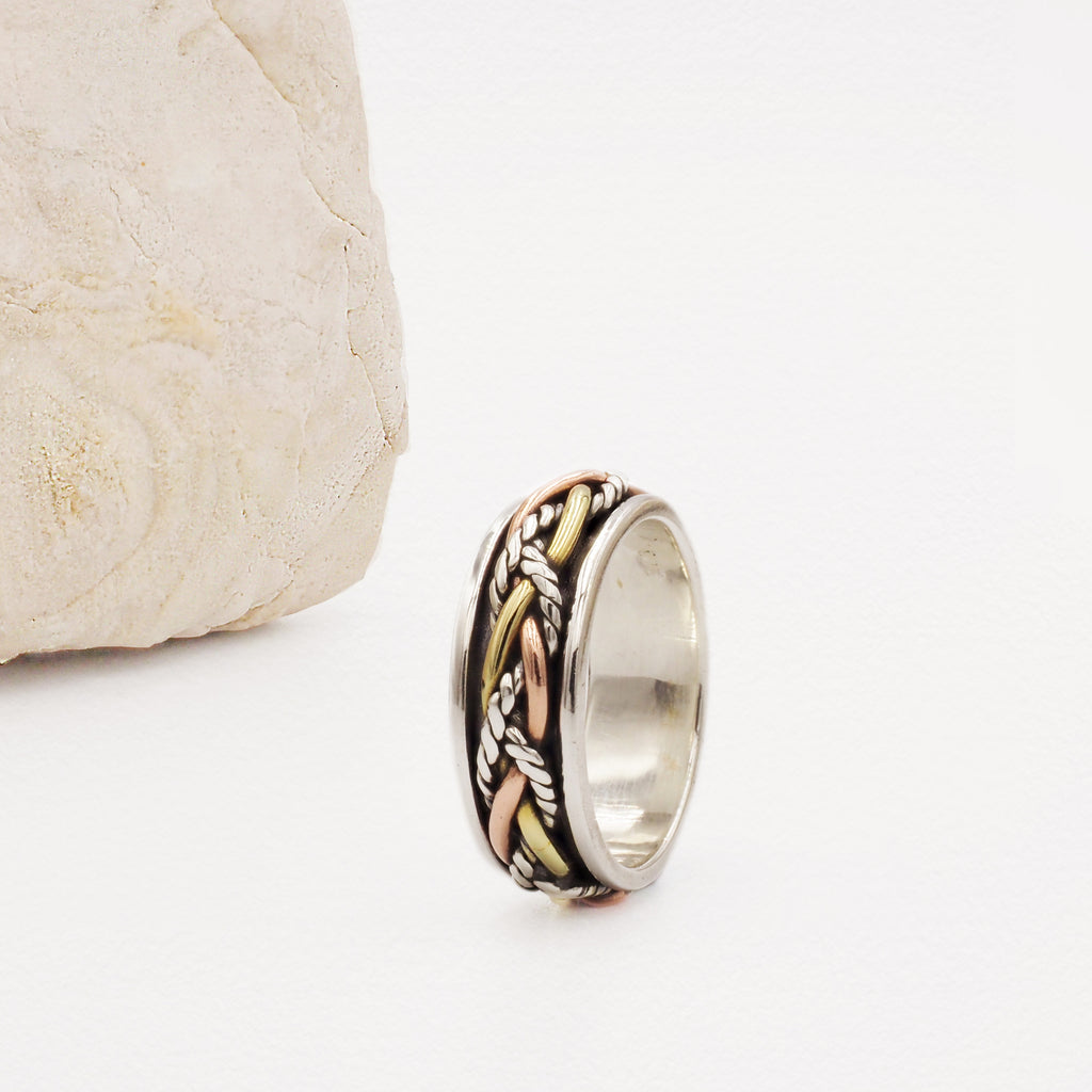 Opay Twisted Braid Mixed Metal & Sterling Silver Spinning Ring