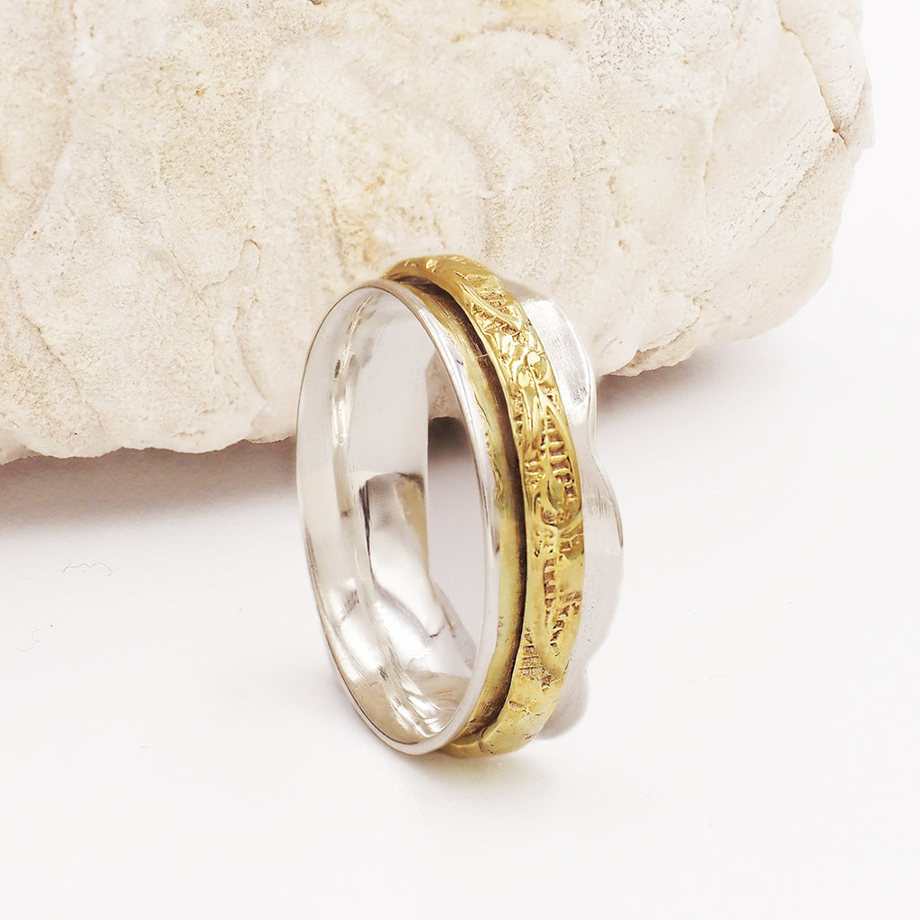 Phoebe Engraved Band Gold & Sterling Silver Spinning Ring