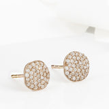 Cielo Rose Gold Pave Organic White Topaz Earrings