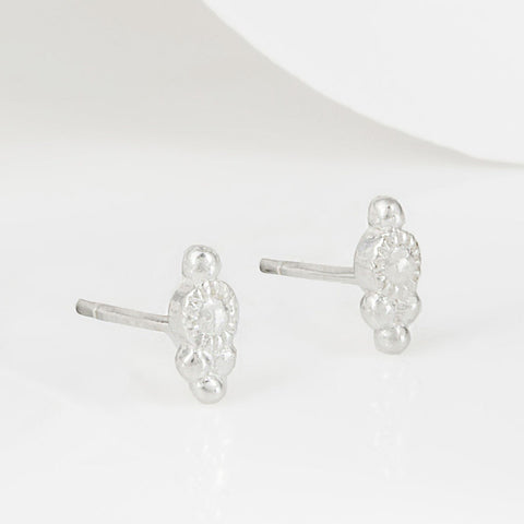 Cascabel Miniature Silver Boho Stud Earrings