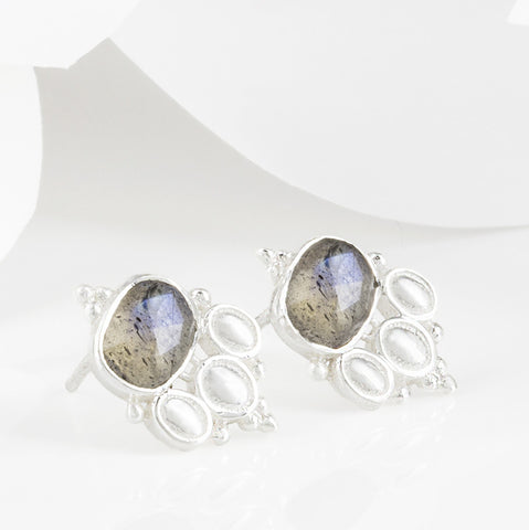 Cascabel Silver and Labradorite Boho Stud Earrings