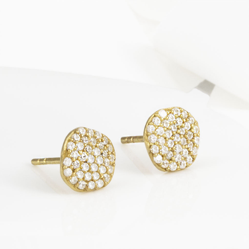Cielo Gold Pave Organic White Topaz Earrings