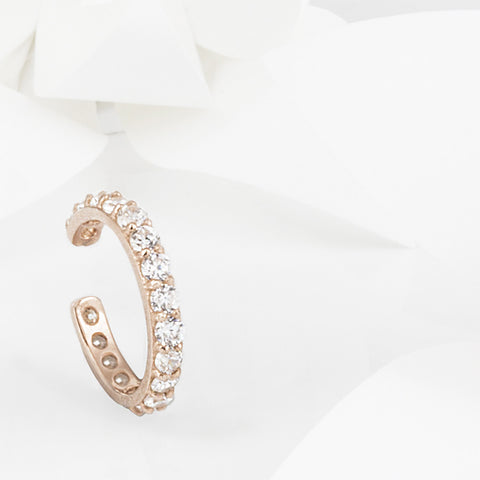 Stellar Rose Gold and White Topaz Ear Cuff