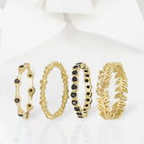 Aura Gold & Onyx Eternity Ring Set