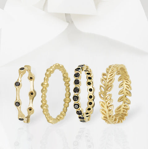Aura Gold and Onyx Eternity Ring Set