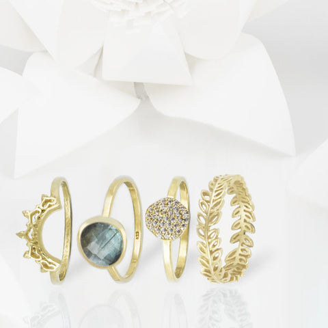 Indo Gold Halo Nesting Ring Set
