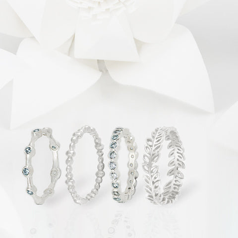 Aura Blue Topaz and Silver Eternity Ring Set