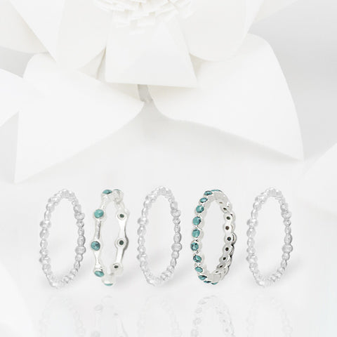 Oscura Turquoise and Silver Eternity Stacking Ring Set