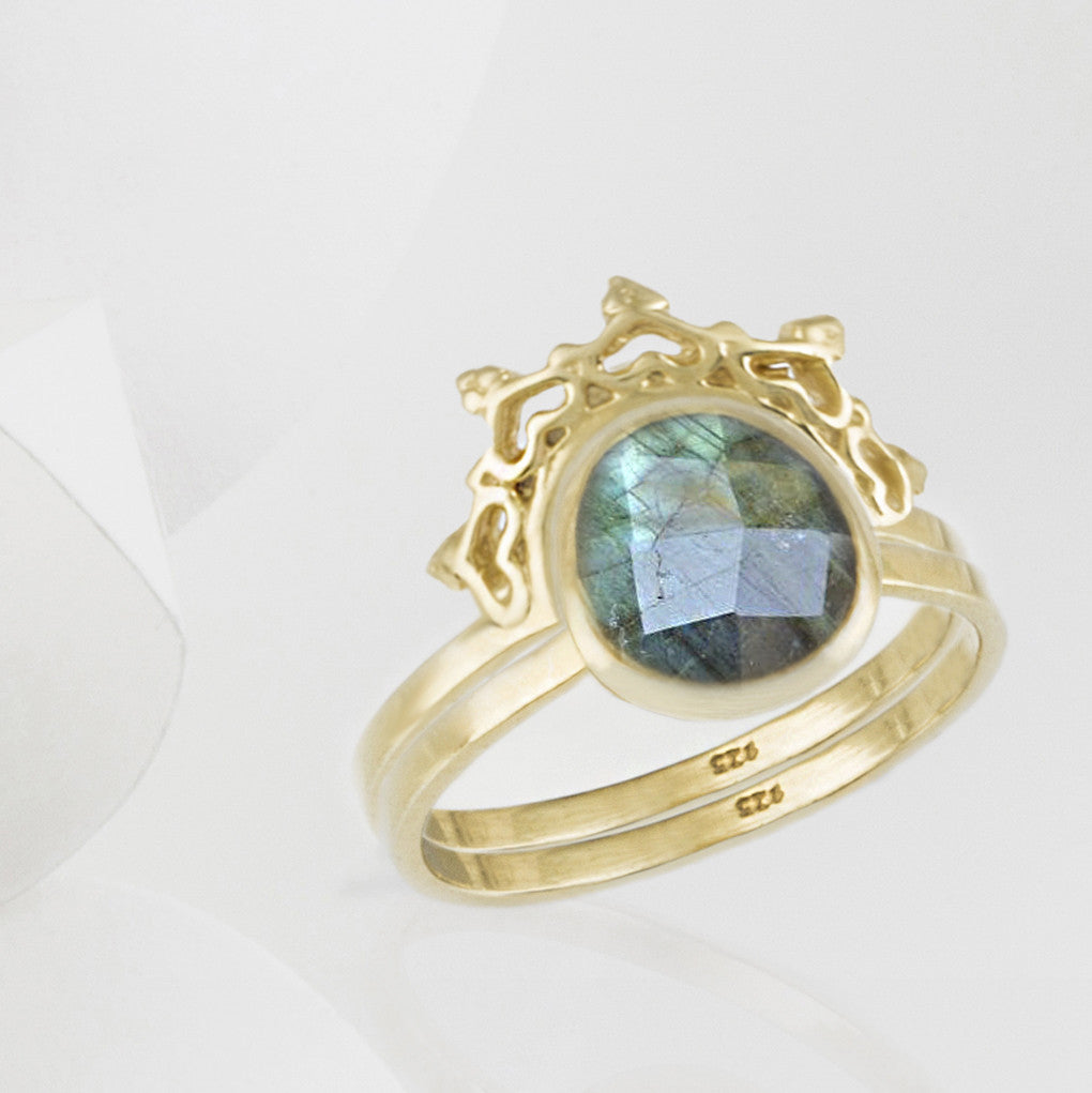 Austra Gold and Labradorite Ring with Halo Nesting Band