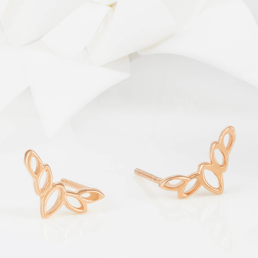 Olive Leaf Stud Earrings Flor Rose Gold Olive Leaf Stud Earrings