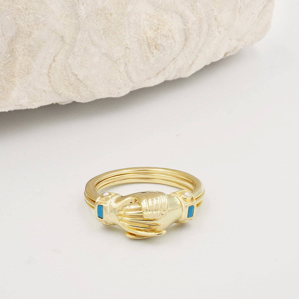 Fede Gold, Turquoise and Pearl Gimmel, Claddagh Ring