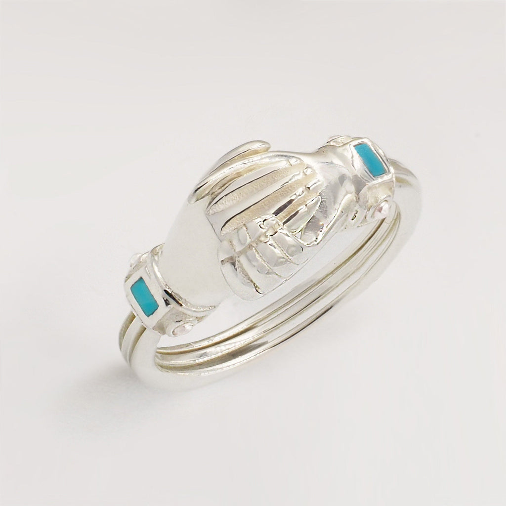 Fede Silver, Turquoise and Pearl Gimmel, Claddagh Ring