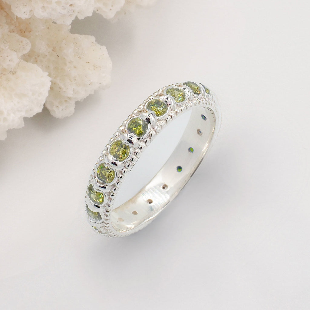 Elia Olive Green Peridot & Silver Stacking Eternity Wedding Ring Band