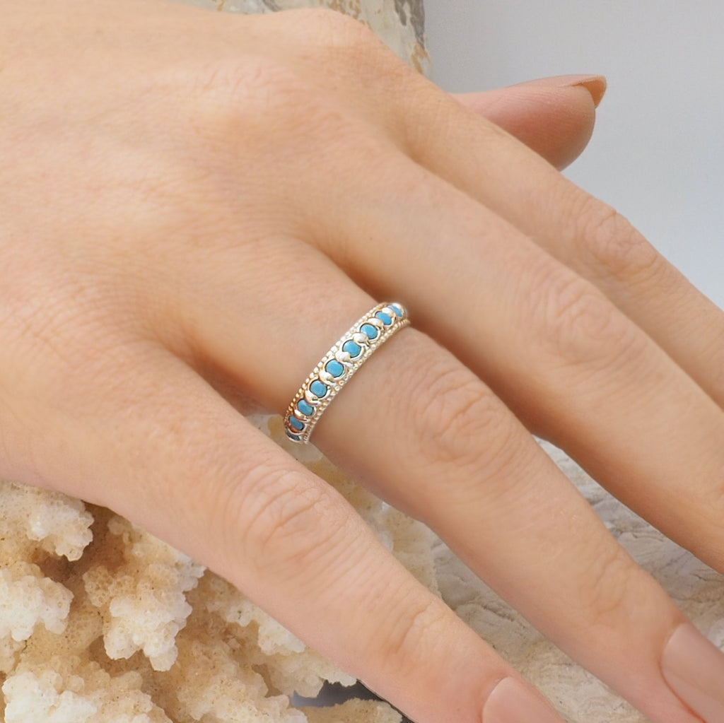 Elia Turquoise & Silver Stacking Eternity Ring Band