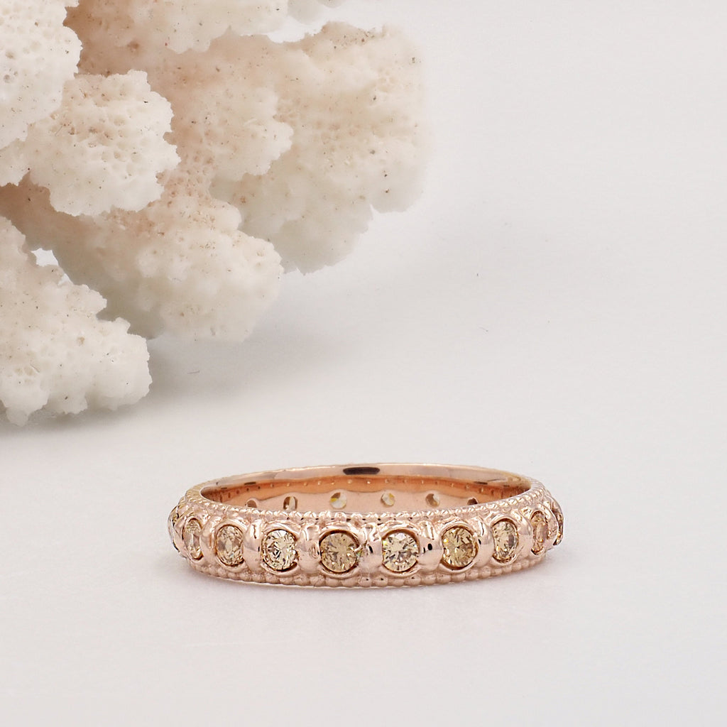 Elia Yellow Citrine & Rose Gold Stacking Eternity Ring Band