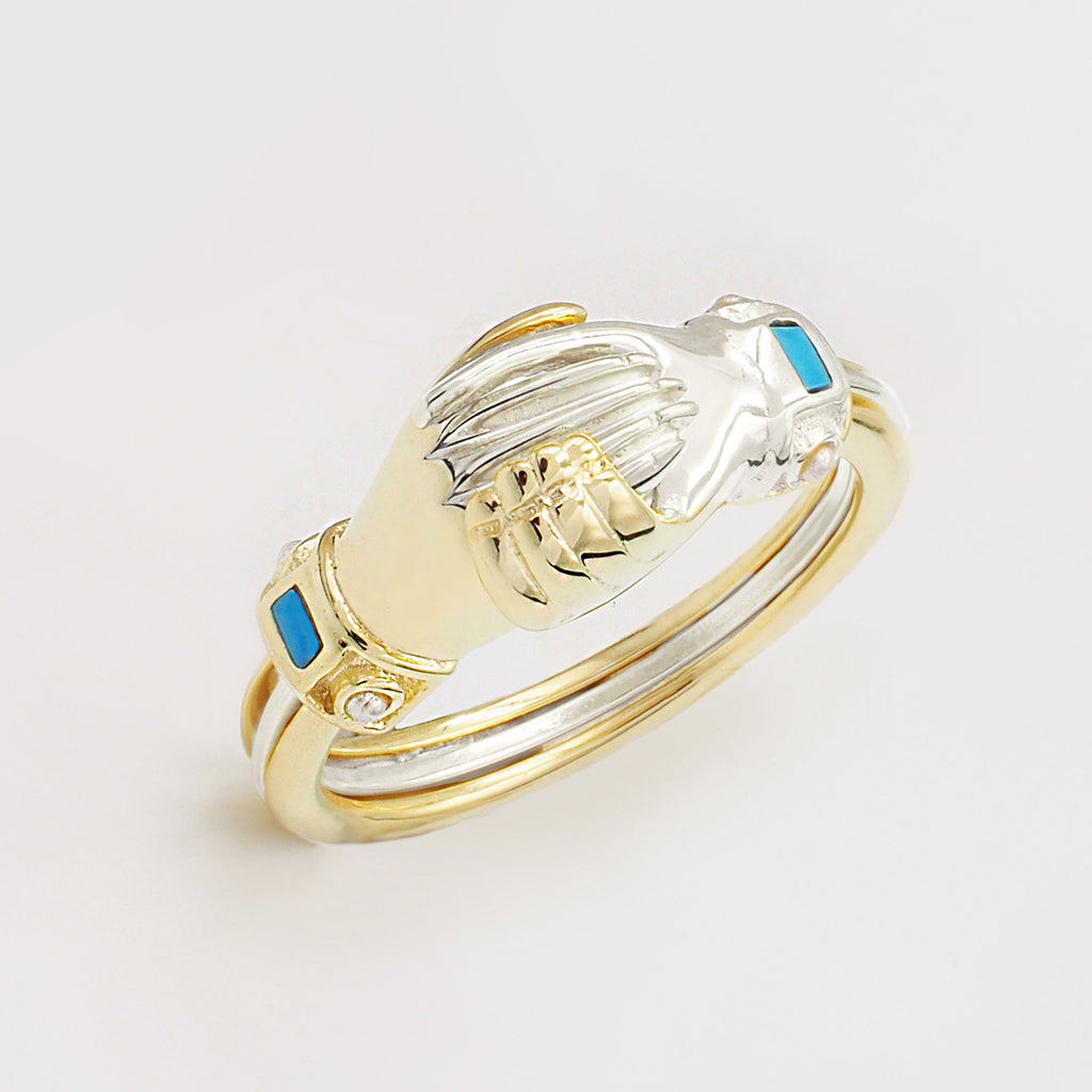 Fede Silver, Gold, Turquoise and Pearl Gimmel, Claddagh Ring