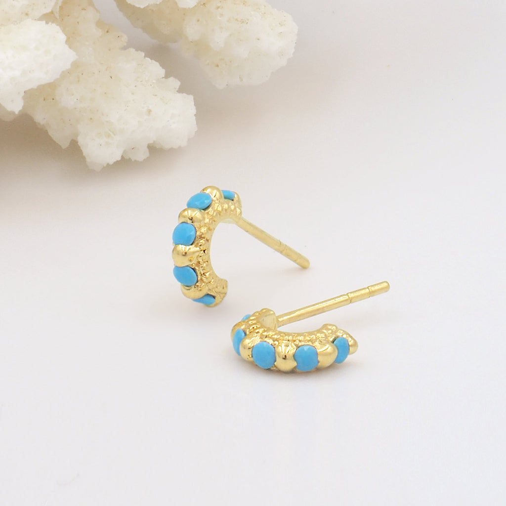 Tiny, Mini 18k Gold Plated & Turquoise Gemstone Molten Huggie Hoop Earrings - Size Medium 9mm