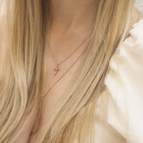 Sigma • Rose Gold Nugget Mini Cross Necklace