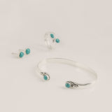 Azul Silver & Turquoise Earrings, Ring & Bangle Set