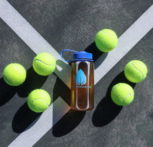 Energy tea on the tennis court mixed in a 16 oz Nalgene water bottle.