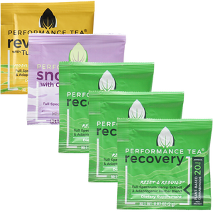 Adaptogen and CBD Tea Singles Variety Pack 3 Recovery 1 Snooze 1 Revive