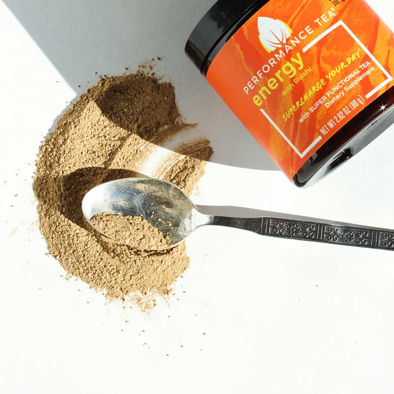 Energy with Reishi. Powdered instant tea with spoon.