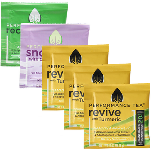 Adaptogen and CBD Tea Singles Variety Pack 3 Revive 1 Recovery 1 Snooze