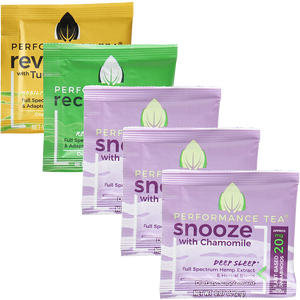 Adaptogen and CBD Tea Singles Variety Pack 3 Snooze 1 Recovery 1 Revive