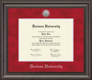 Acadia Medallion Red Suede Diploma Frame-gifts-frames-Shop Denison