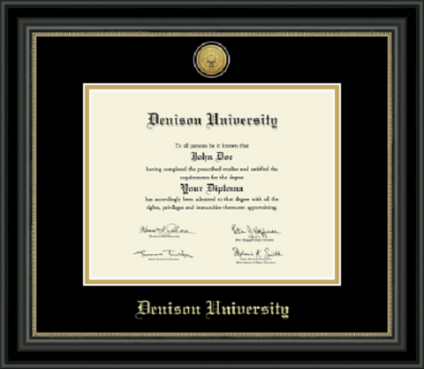 Engraved Black on Black Noir Diploma Frame-gifts-frames-Shop Denison