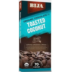 Bija Toasted Coconut Chocolate Bar (10x3.17 OZ)